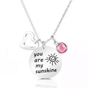 New 2019 Silver You are my Sunshine necklace Pink